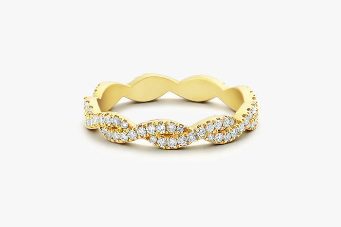 14k Gold Infinity Diamond Eternity Wedding Band