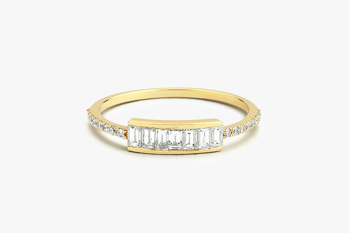 14k Gold Channel Set Baguette Diamond Ring - Ferkos Fine Jewelry