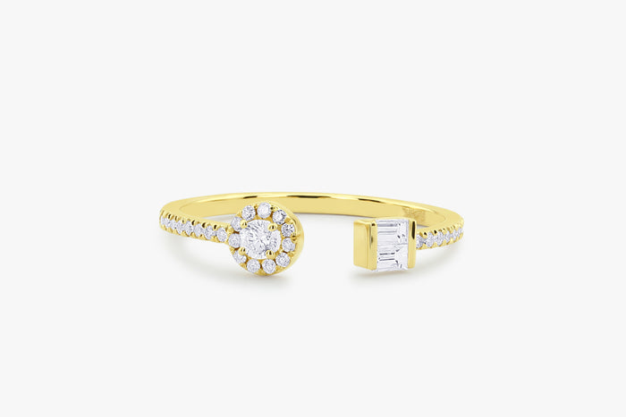 14k Gold Open Baguette and Round Diamond Ring - Ferkos Fine Jewelry