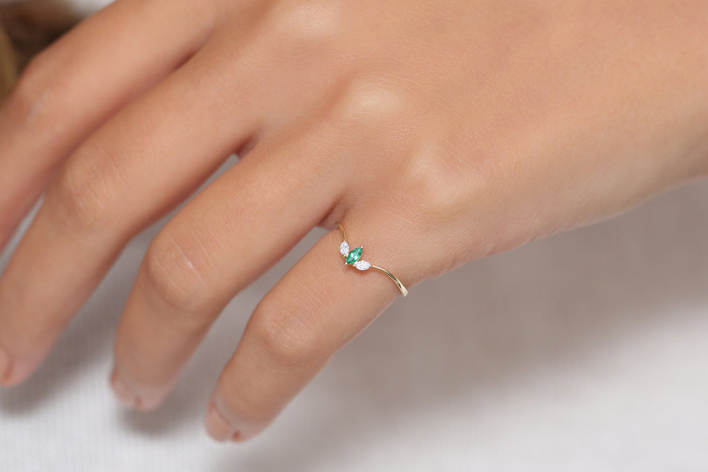 14k Triple Marquise Emerald Ring - Ferkos Fine Jewelry