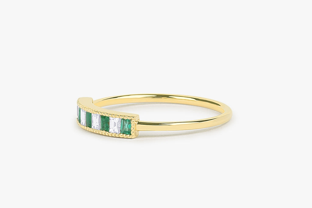 14k Emerald and Diamond Channel Setting Ring - Ferkos Fine Jewelry