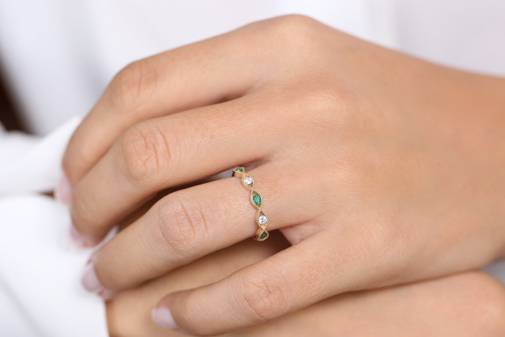 14K Gold Channel Set Emerald and Diamond Ring - Ferkos Fine Jewelry