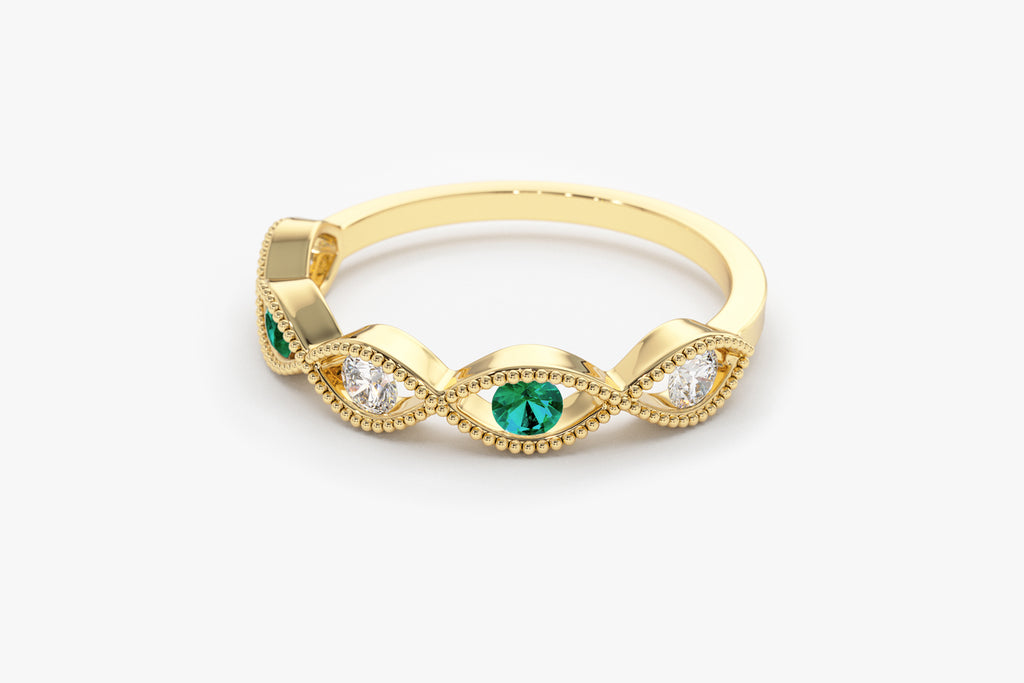 14k Infinity Emerald and Diamond Ring - Ferkos Fine Jewelry