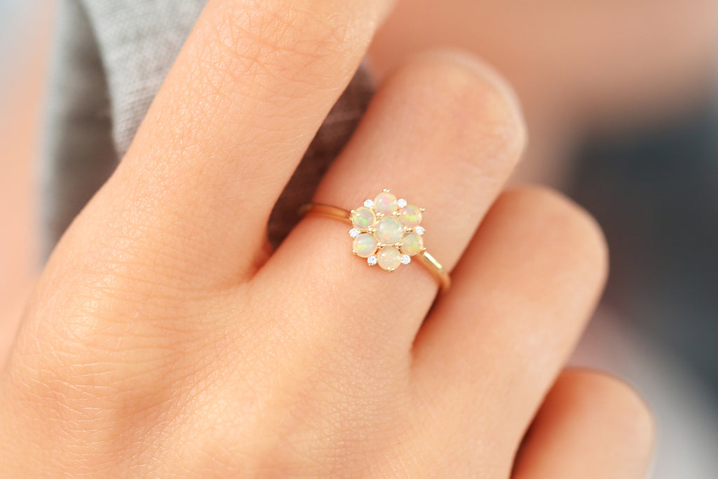 14k Flower Design Opal Ring - Ferkos Fine Jewelry