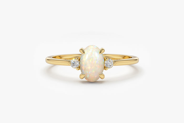 14k Natural Opal Ring with Side Diamonds - Ferkos Fine Jewelry