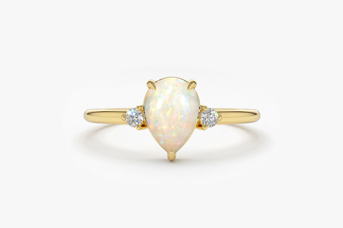 14k Pear Shape Opan and Diamond Ring - Ferkos Fine Jewelry