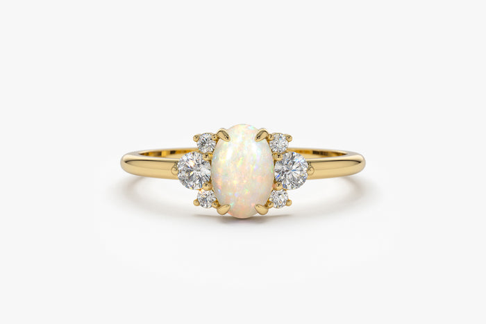 14k Oval Opal Ring with Diamonds - Ferkos Fine Jewelry