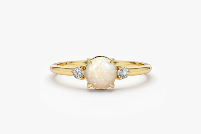14k Round Opal and Diamond Ring - Ferkos Fine Jewelry