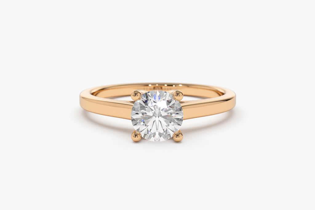 14K Gold Cross Prong Cathedral Setting Engagement Ring