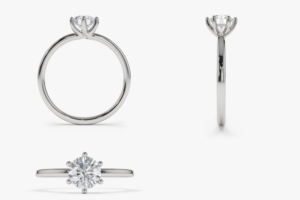 14K Intricate 6 Prong Engagement Ring