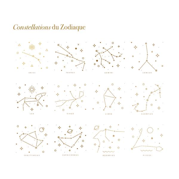 Collier constellation du Zodiaque argent-waekura-bijoux plaque or