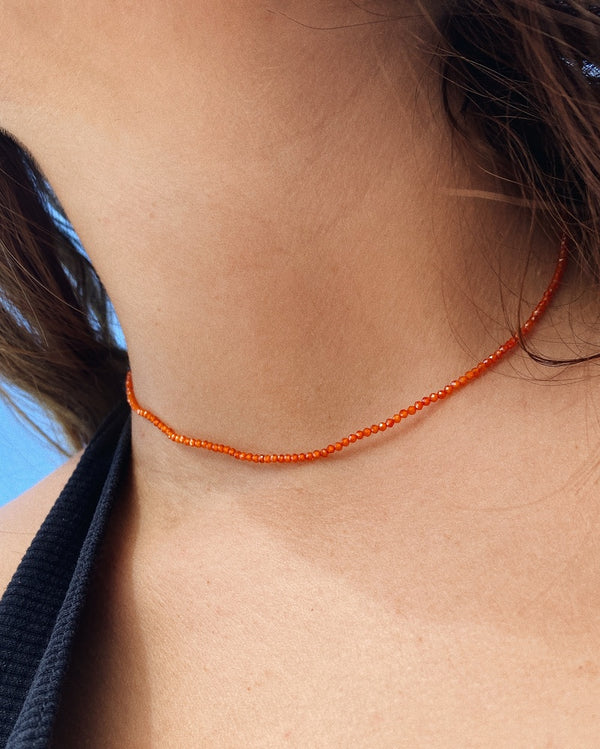 Collier perles orange-waekura-bijoux plaque or