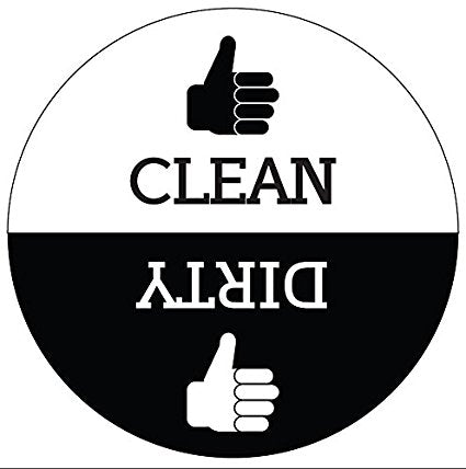 Clean Dirty Round Dishwasher Magnet with Thumbs Up / Thumbs Down indicators. (art style)