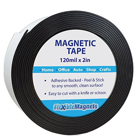 "Adhesive Magnetic Strip - 120 Mil Thick - Incredibly Strong Flexible Adhesive Magnetic Tape - 2"" wide x 10 Feet - The STRONGEST and THICKEST Magnetic strip on the market!"