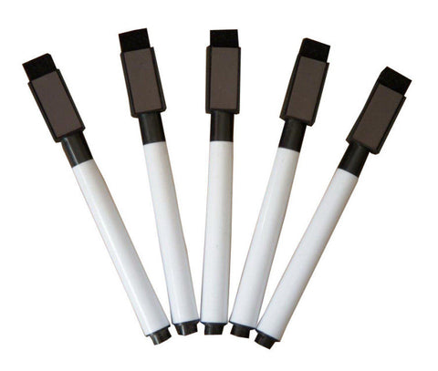 Black Dry Erase Low-Odor Markers with Cap-Mounted Eraser & Magnet