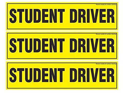 Set of 3 Magnetic 'Student Driver' Bumper Stickers, 12 X 3 Inches