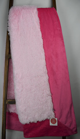 Shaggy Baby Pink / Solid Fuchsia - Extreme Snuggler