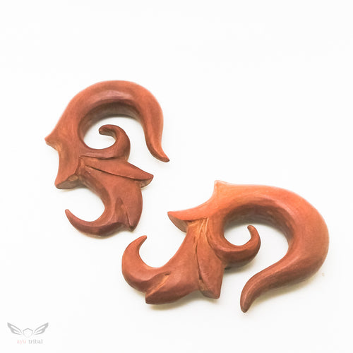 0000 gauge wooden ear hanger, tribal carving BC133-12