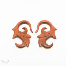 2 gauge wooden ear weight, tribal carving 2g 6mm gauged earrings BC133-06