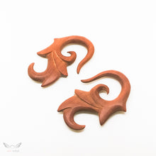 2 gauge wooden tribal carving 2g gauged earrings BC133-06