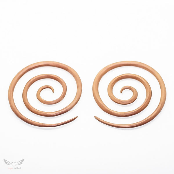 2 gauge earrings, xxl large triple spiral 6mm 2g wooden gauges bc040-06