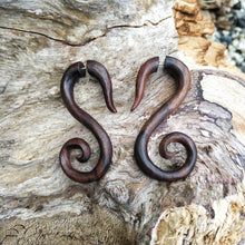"Tribal ""S"" carving wooden earrings, fake taper ear hanger"