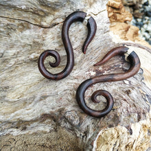 "Spiral ""S"" monogram wooden earrings, fake gauge earrings by Ayu Tribal"