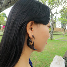 Ayu Tribal Jewelry | Faux gage sono wood crescent wings carving fake gauge earrings AA004