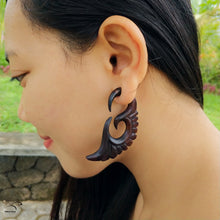 Ayu Tribal Jewelry | Wings carving fake gauge earrings, fake ear weights AA004