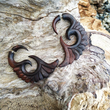 AyuTribal.com Fake Gauge Earrings wings carving