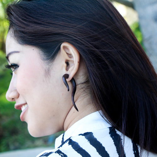Tribal long tail fake gauge wood earrings AA033