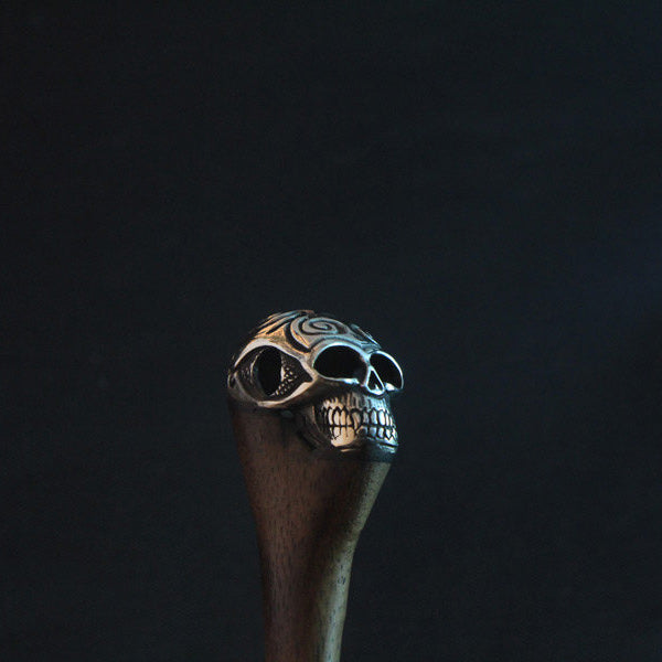 Gothic style chrome skull hair accessories, tribal wooden hair stick
