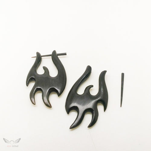 Tribal style black horn stick post earrings JQ001