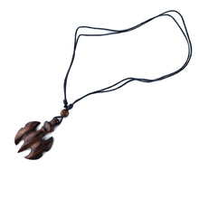 Viking theme wooden necklace, wood carving handmade tribal pendant