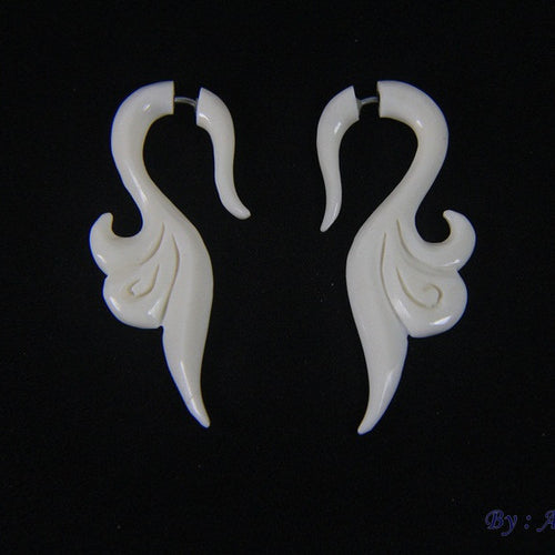 Fake gauge earrings, bone earrings FGB0017