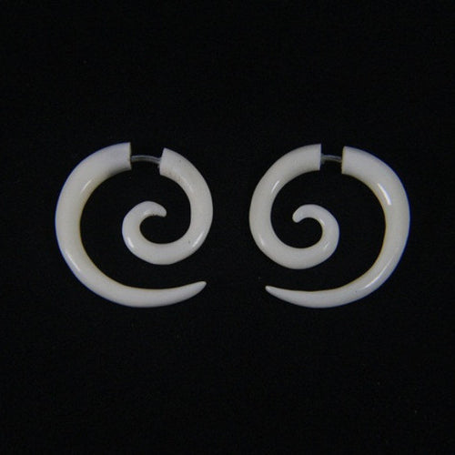 Ayu Tribal Jewelry | Small spiral bone earrings
