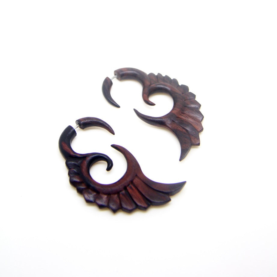 Ayu Tribal Jewelry | Sono wood crescent wings fake gauge earrings