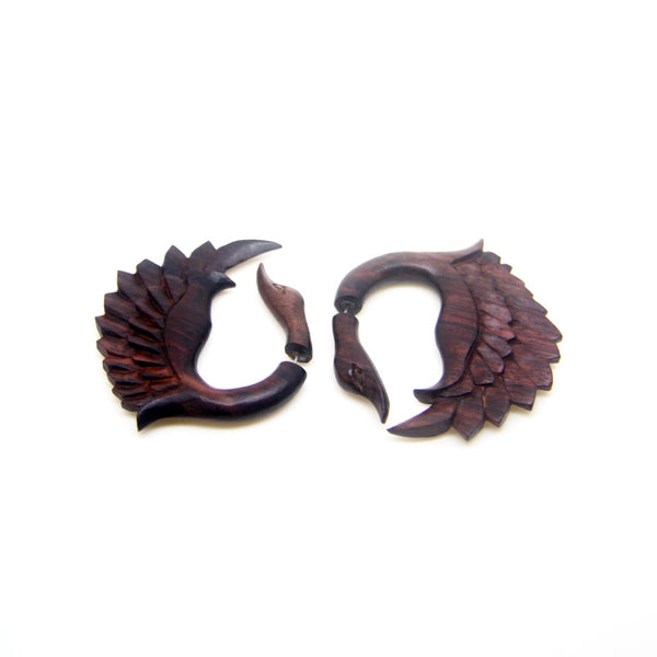Ayu Tribal Jewelry | Swan wings fake gauge earrings, cheater plugs ear weight AA008