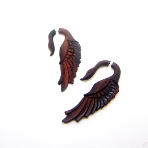 Ayu Tribal Jewelry | Fake gauge earrings, swan wings carving wooden ear gauges AA009