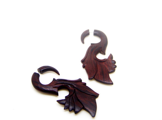 Tribal wooden fake gauge earrings AA018