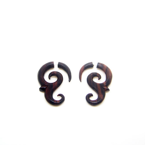 Tribal spiral tail fake gauge earrings AA019