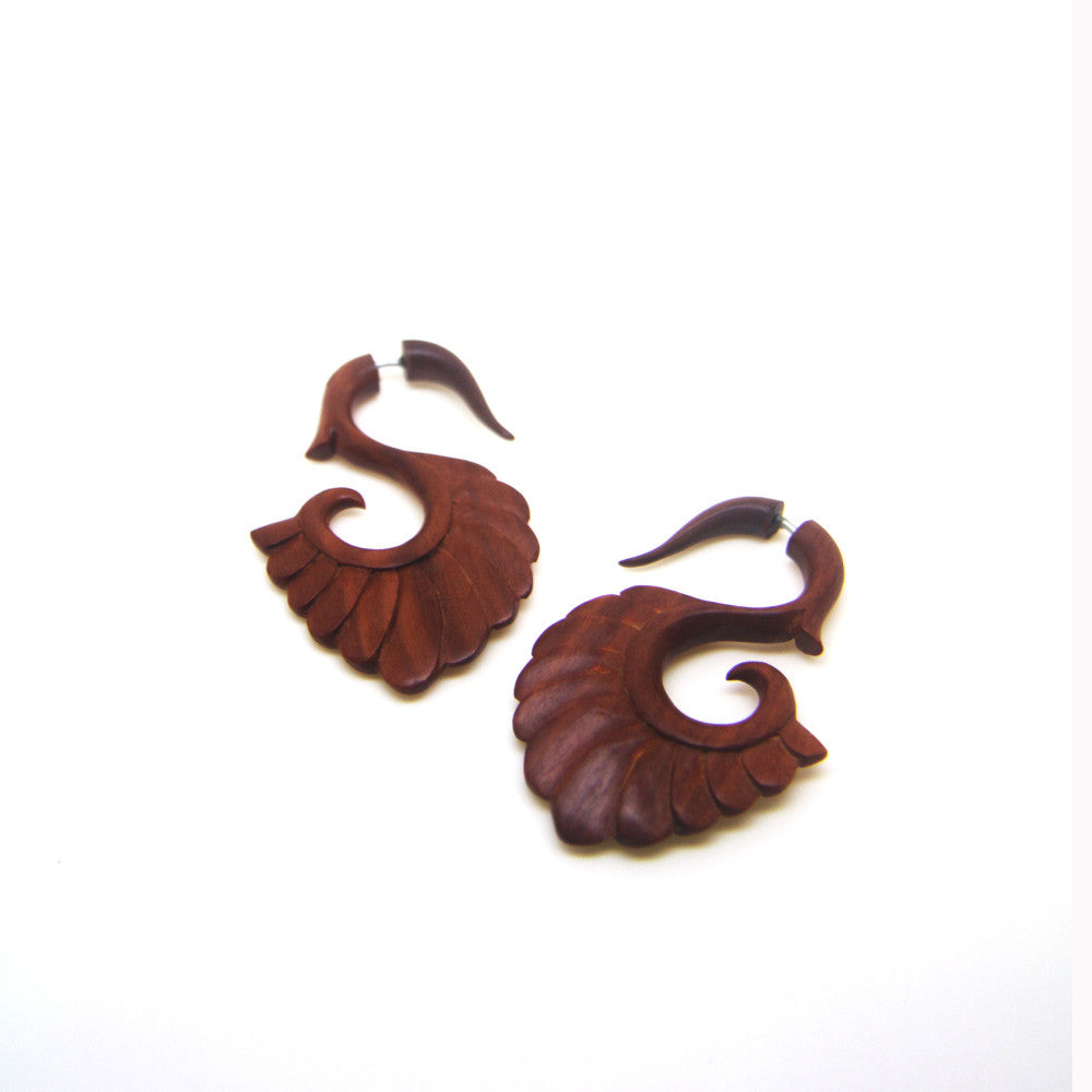 Ayu Tribal Jewelry | Abstract wings wooden ear gauges, tribal carving cheater plugs earrings AC003