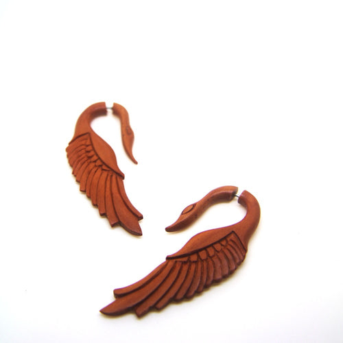 Swan carving saba wood fake gauge earrings AC009