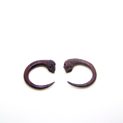 2 gauge spiral wood earrings BA031-06