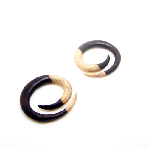 0 gauge plugs spiral earrings, 0g wooden ear weight BB124-08