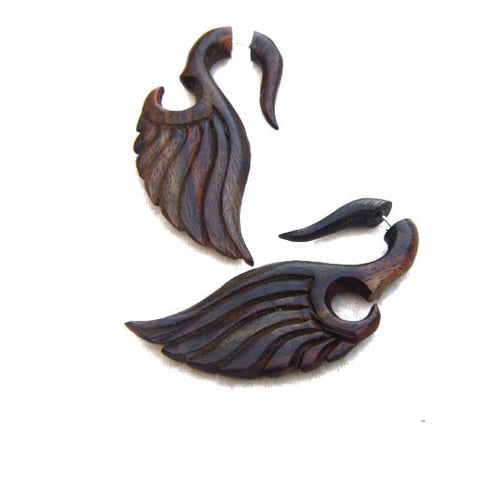 Sono wood wing carving cheater ear plugs AA027