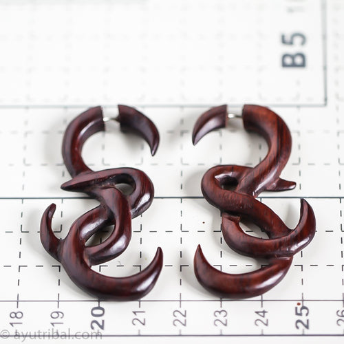 root knot fake gauge wooden ear weight, faux gage wood earrings AA114