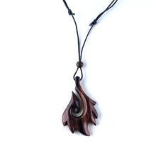 Tribal fish hook wooden necklace, sono wood pendant FA009