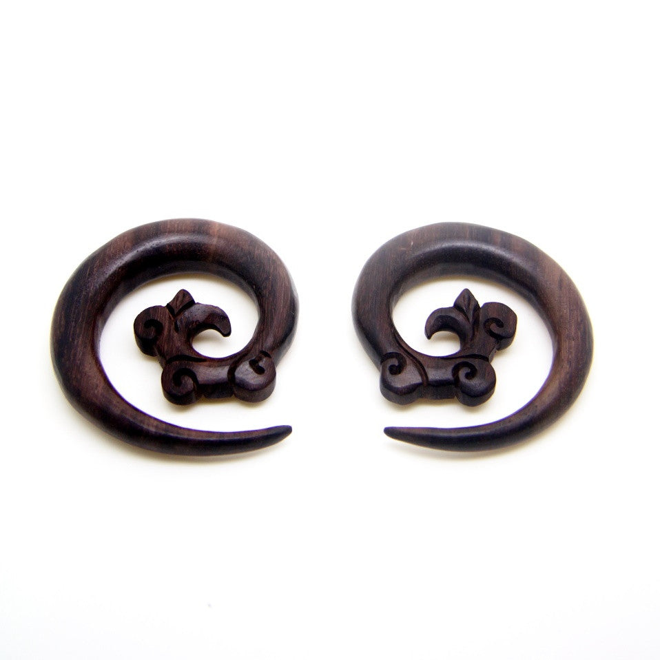 Tribal carving spiral ear weight, wooden plugs gauges BA030-10