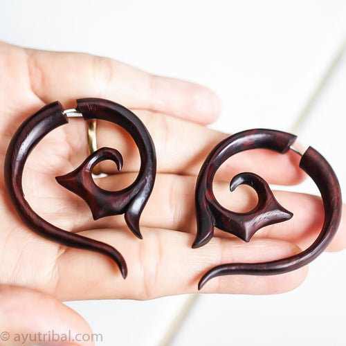 Tribal spiral fake gauge earrings, tailed wood faux ear gauges aa052